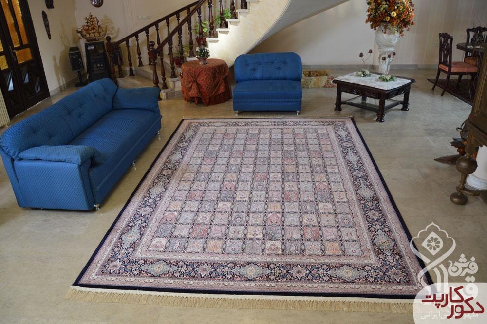 نمای فرش ۱۲۰۰ شانه قیطران طرح آریانا سرمه ای