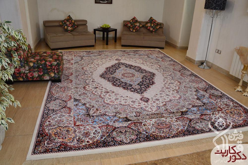 نمای فرش ۱۲۰۰ شانه طرح دلکش کرم محصول قیطران