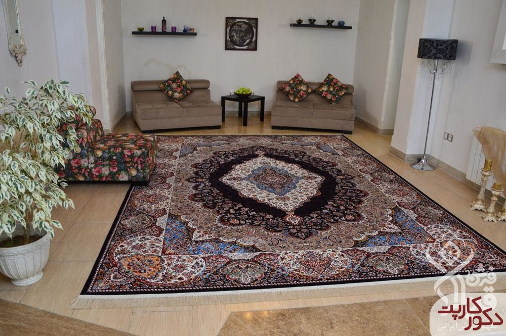 دکوراسیون زیبا با فرش دلکش سرمه ای محصول قیطران