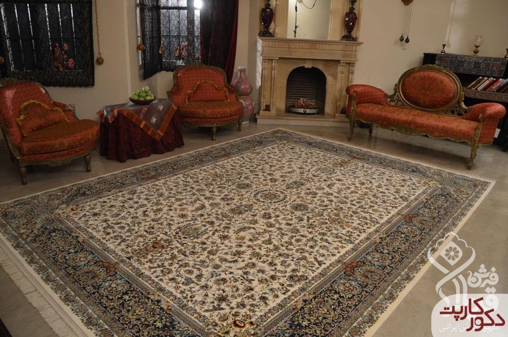دکوراسیون زیبا با فرش قیطران طرح دنا کرم