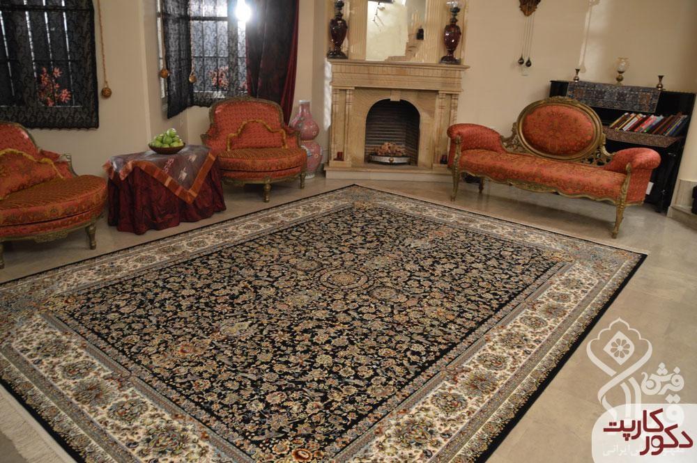 نمای فرش ۱۲۰۰ شانه طرح دنا سرمه ای