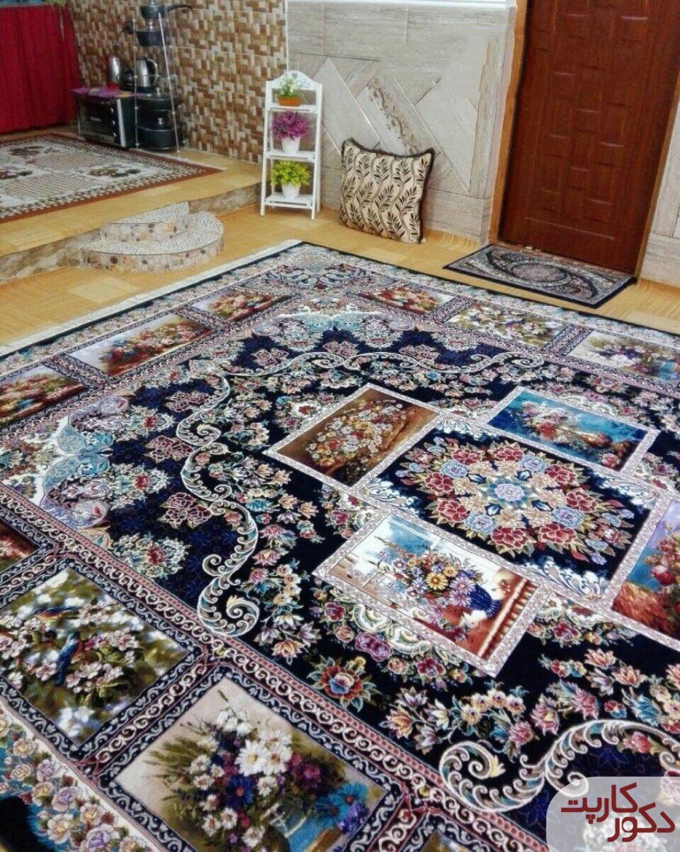 نمای فرش ۷۰۰ شانه طرح آدرینا سرمه ای