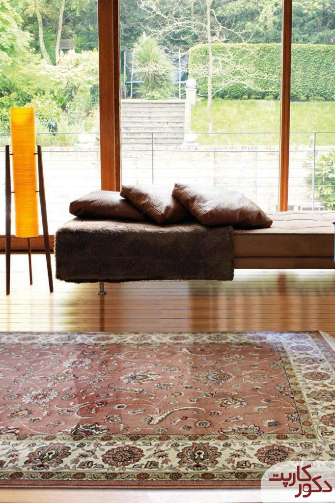 دکوراسیون شیک با فرش افشان گلبهی کد ۵۲۷