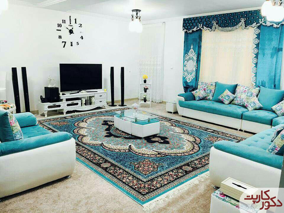 دکوراسیونی شیک و شاد با فرش آرشیدا آبی