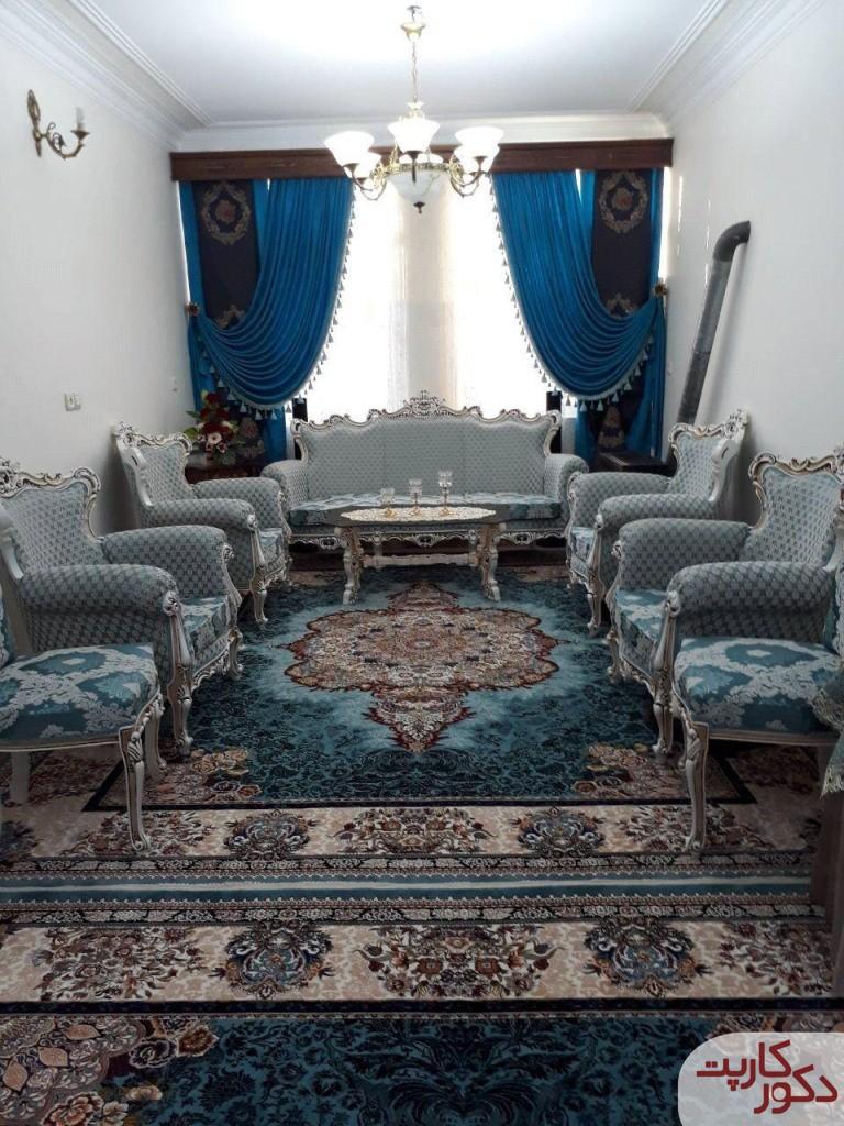دکوراسیون آبی رنگ با فرش الیسا آبی