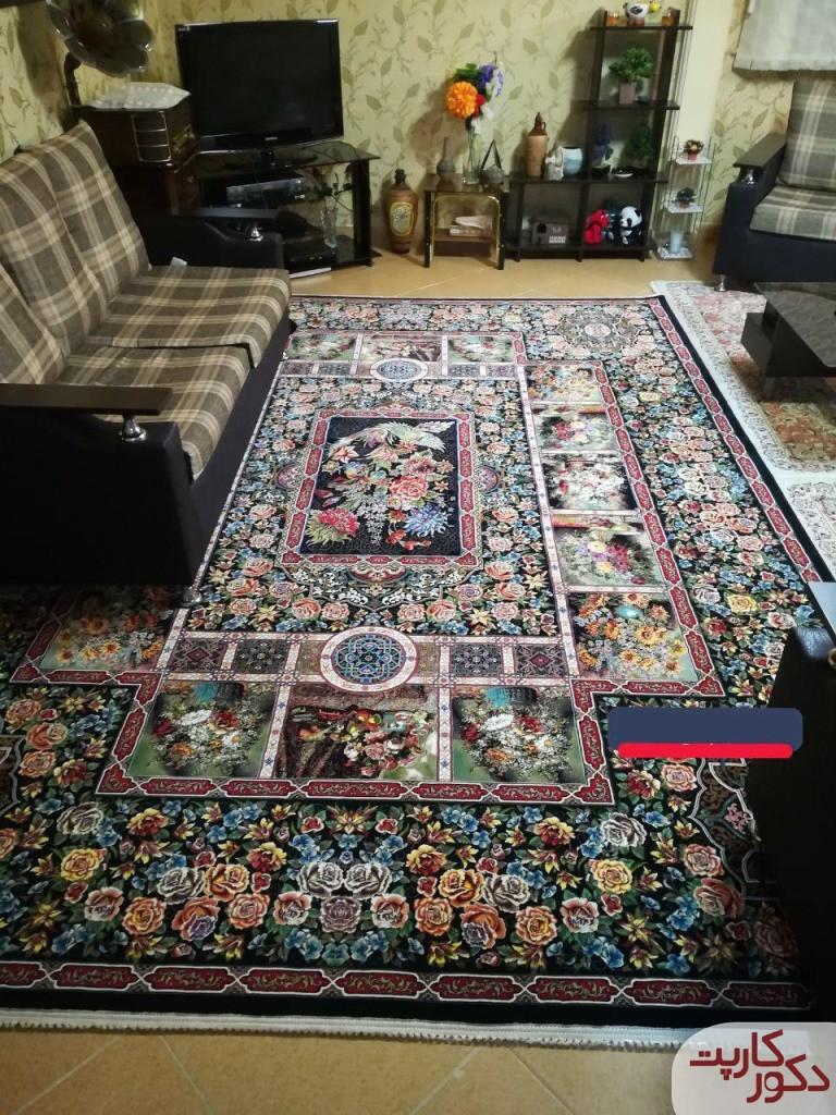 نمایی دیگر از فرش ۱۰۰۰ شانه طرح باغ ارم سرمه ای