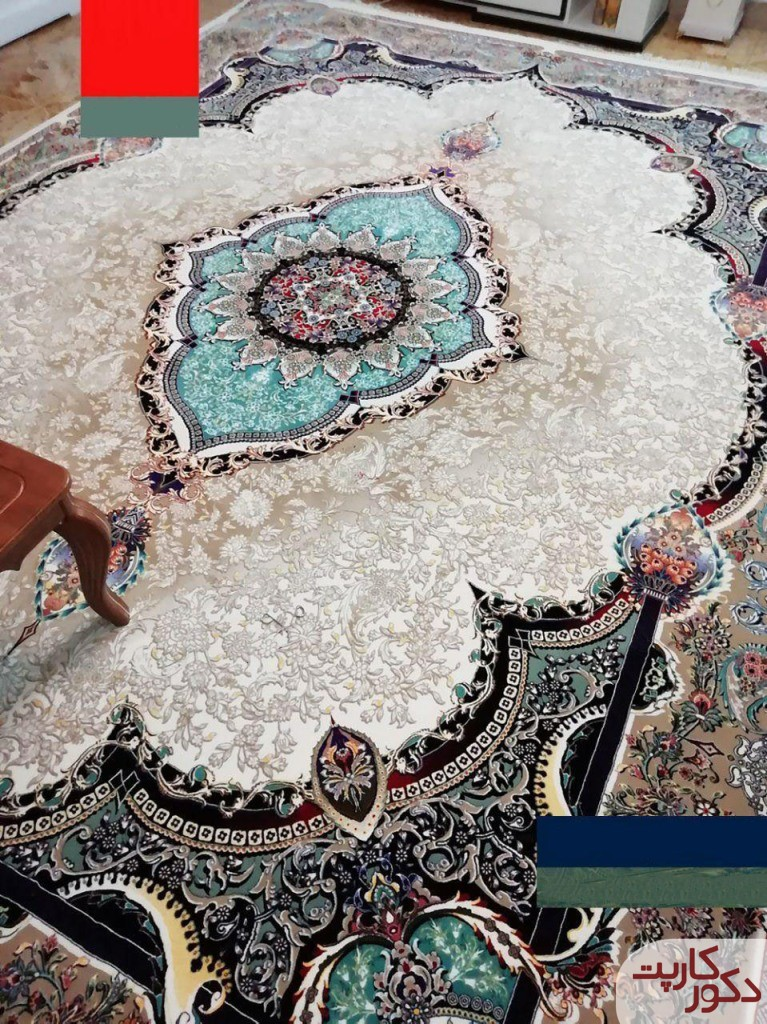 نمایی از فرش ۱۰۰۰ شانه طرح تاج محل کرم